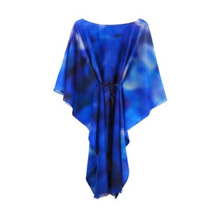 Image of Silk Cotton Blue Lilac Kaftan