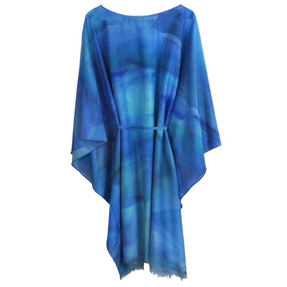 Image of Silk Cotton Blue Hydrangea Kaftan