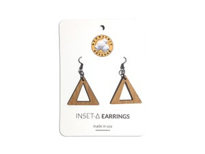Image of INSET TRIANGLE 2 WOODEN EARRINGS