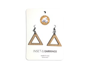 Image of INSET TRIANGLE WOODEN EARRINGS
