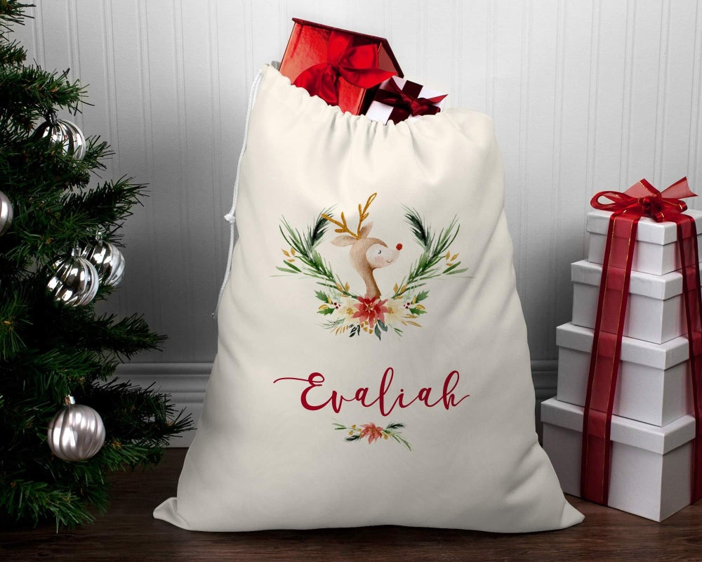 Image of Watercolour Floral Rudolph Santa Sack