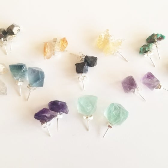 Image of Crystal Studs on Sterling Silver