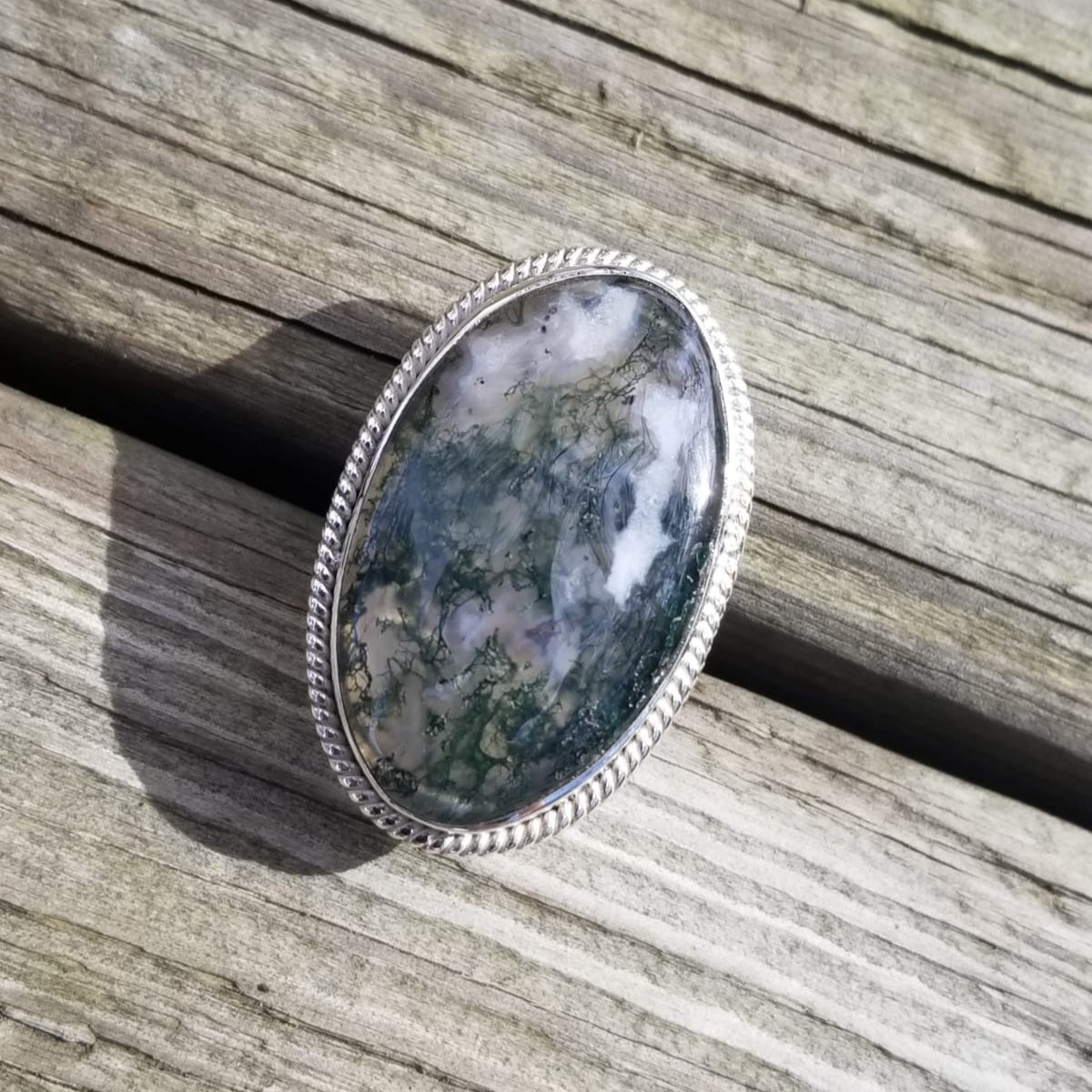 Image of Abundance Ring - Moss Agate in Sterling