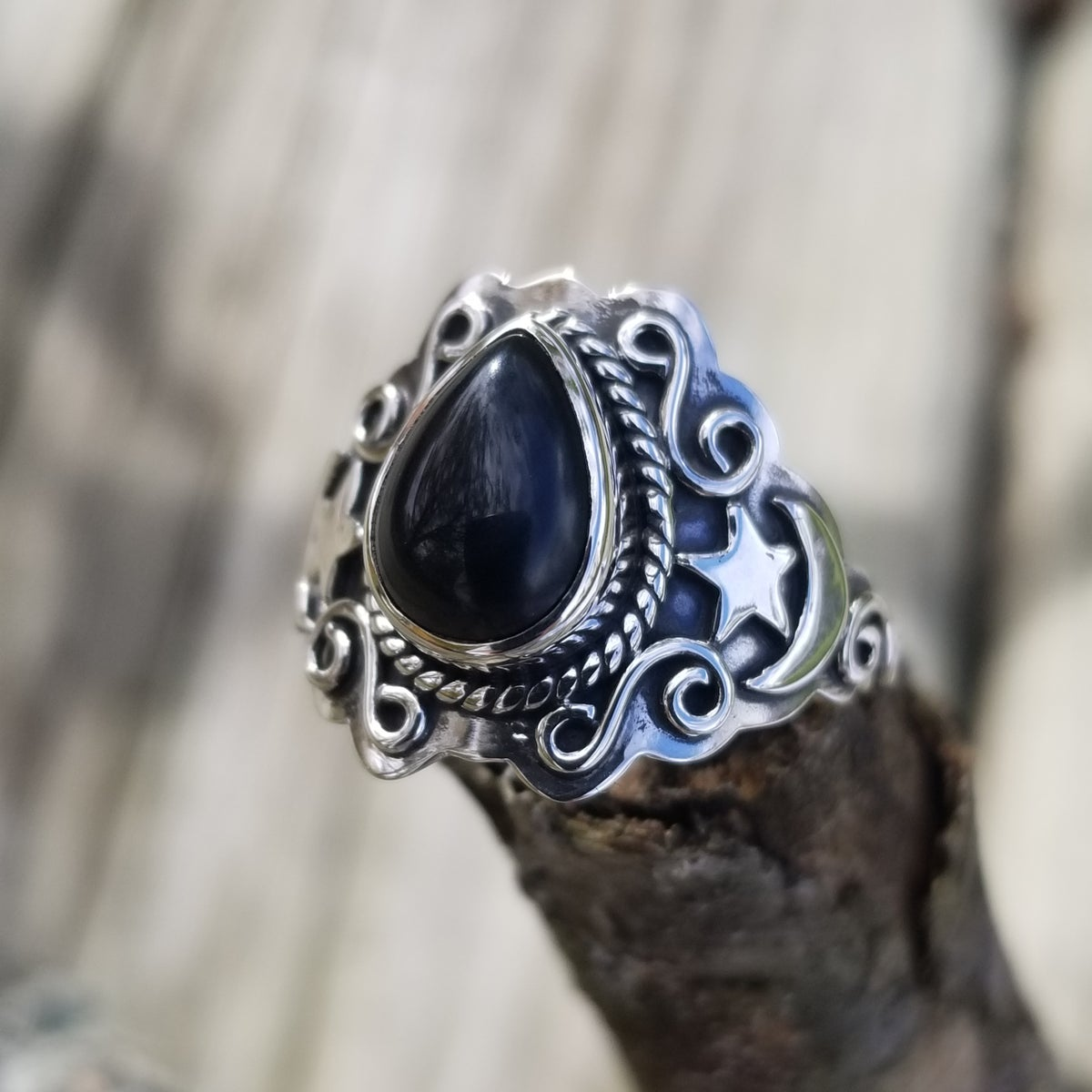 Image of Obsidia Ring - Obsidian in Sterling
