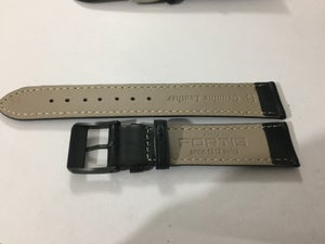 Image of FORTIS Gents Watch Strap,Black Plain Leather,Steel & Black Buckle,20MM.(FL-4).