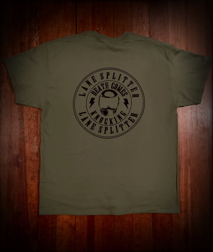 Image of LIMITED Military Green Death Comes Knocking Tshirt