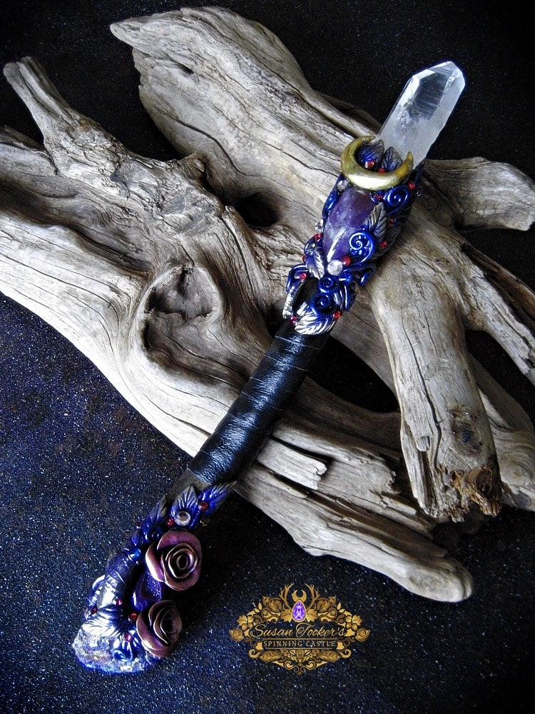 Image of MIDNIGHT GARDEN - Magic Crystal Wand Lemurian Quartz Amethyst Bornite Pagan Witch Art