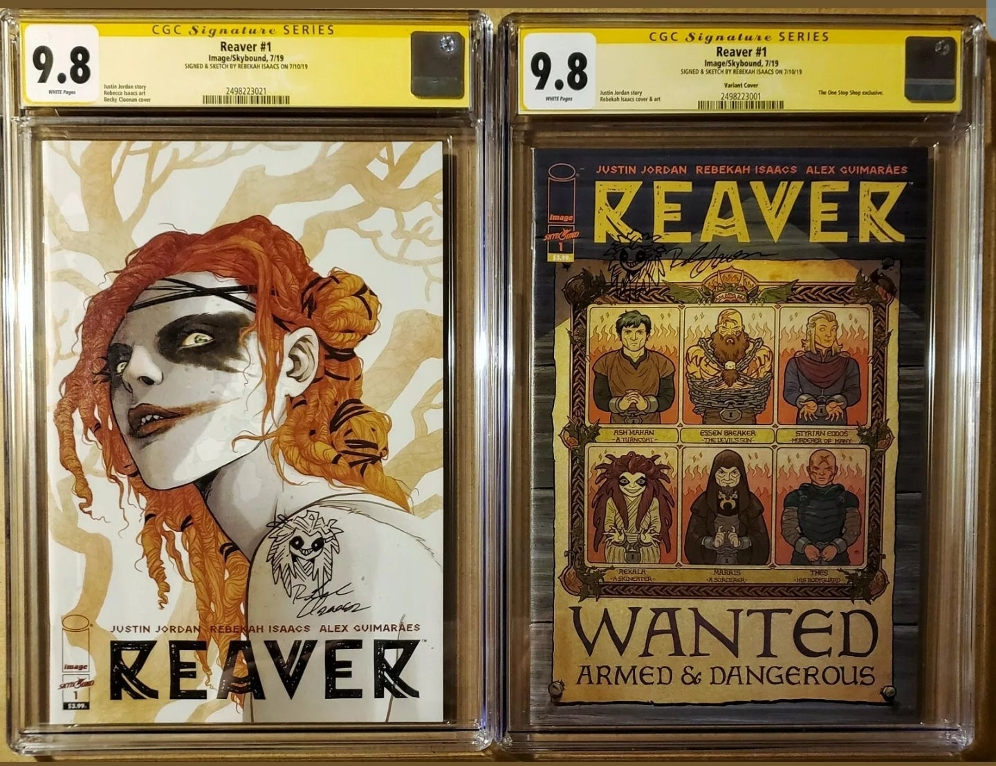 Image of REAVER #1 VARIANT + REGULAR SET CGC 9.8 SIGNED & SKETCHED BY REBEKAH ISAACS