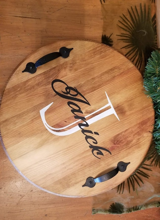 Image of PERSONALIZED WOOD SERVIING TRAY OR LAZY SUSAN
