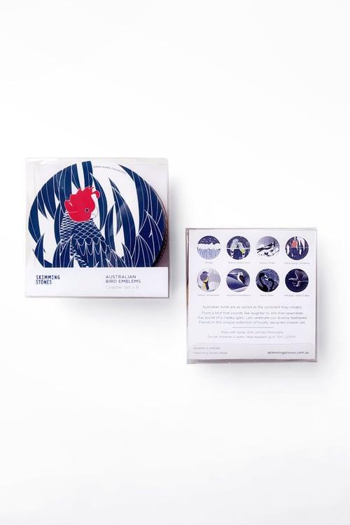 Image of Australian Bird Emblems - Coaster set x 8