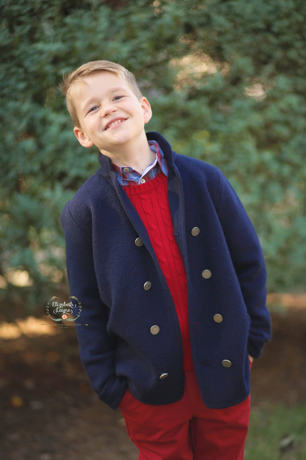 Image of Double-Breasted Boy's Wool Pea Coat