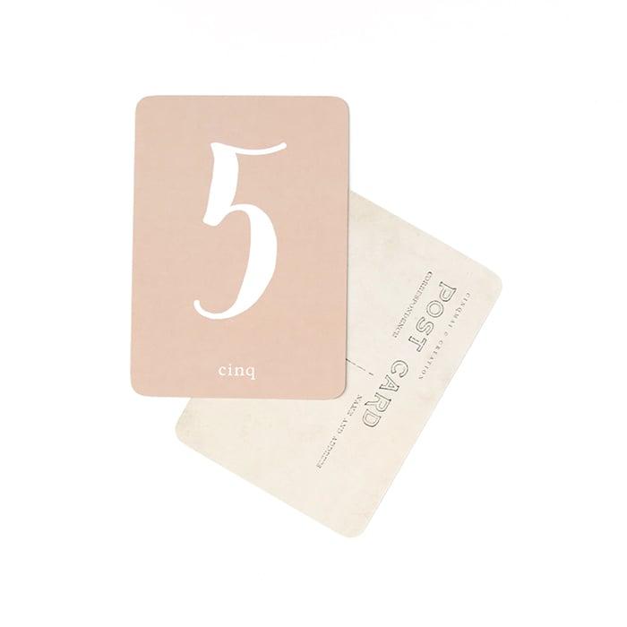 Image of Carte Postale MES CHIFFRES / ROSE / De 0 à 9 au choix