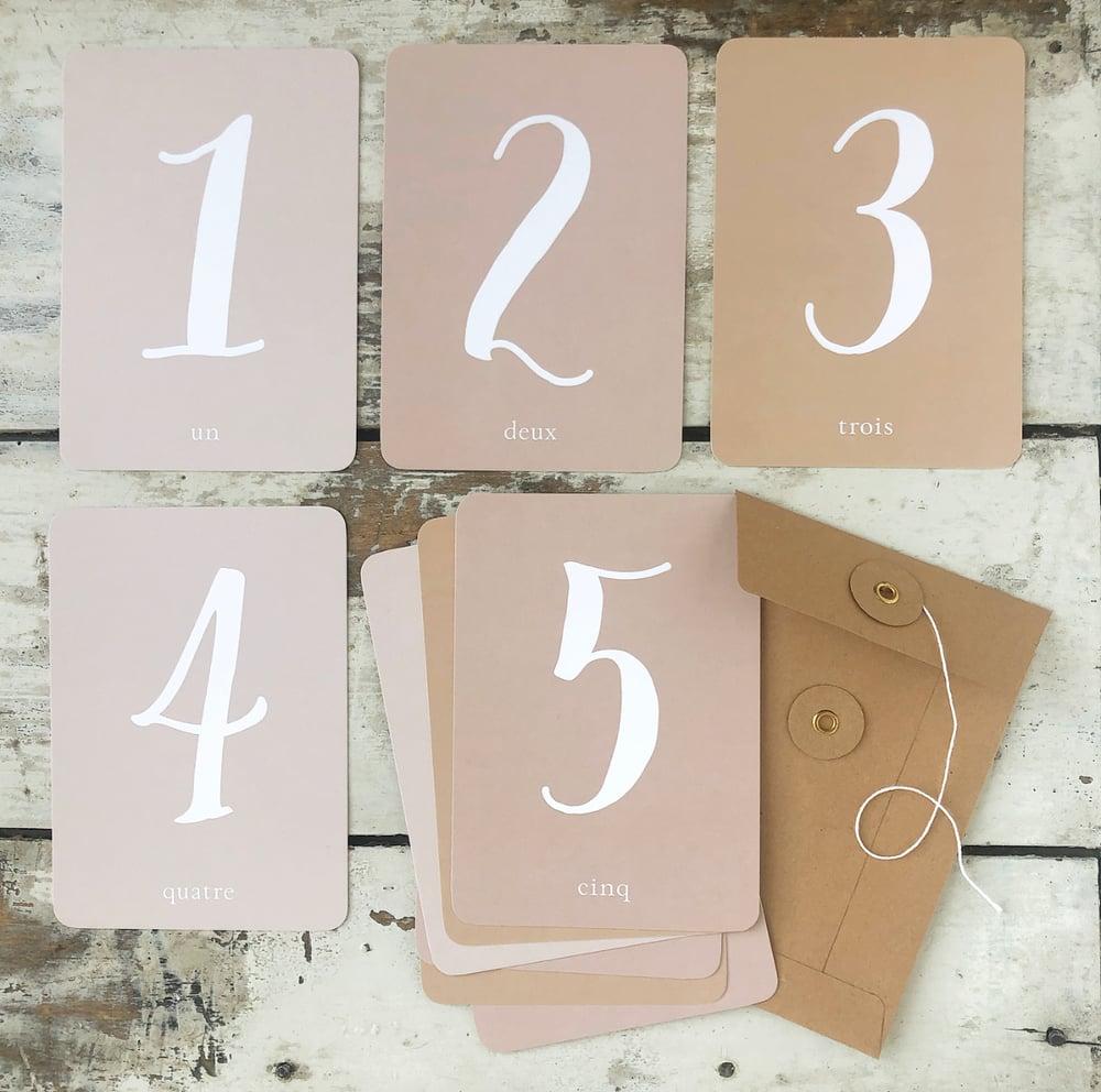 Image of 11 Cartes Postales MES CHIFFRES DE 0 à 9 / ROSE