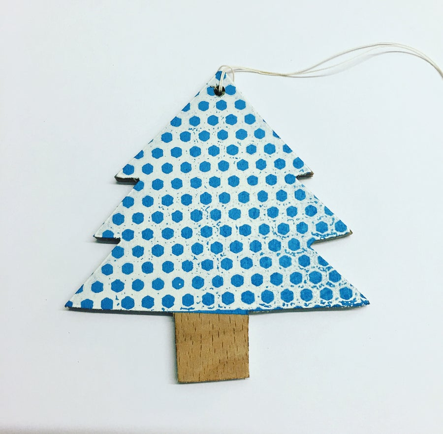 Image of Handmade Screen Printed Wooden Xmas Tree decoration