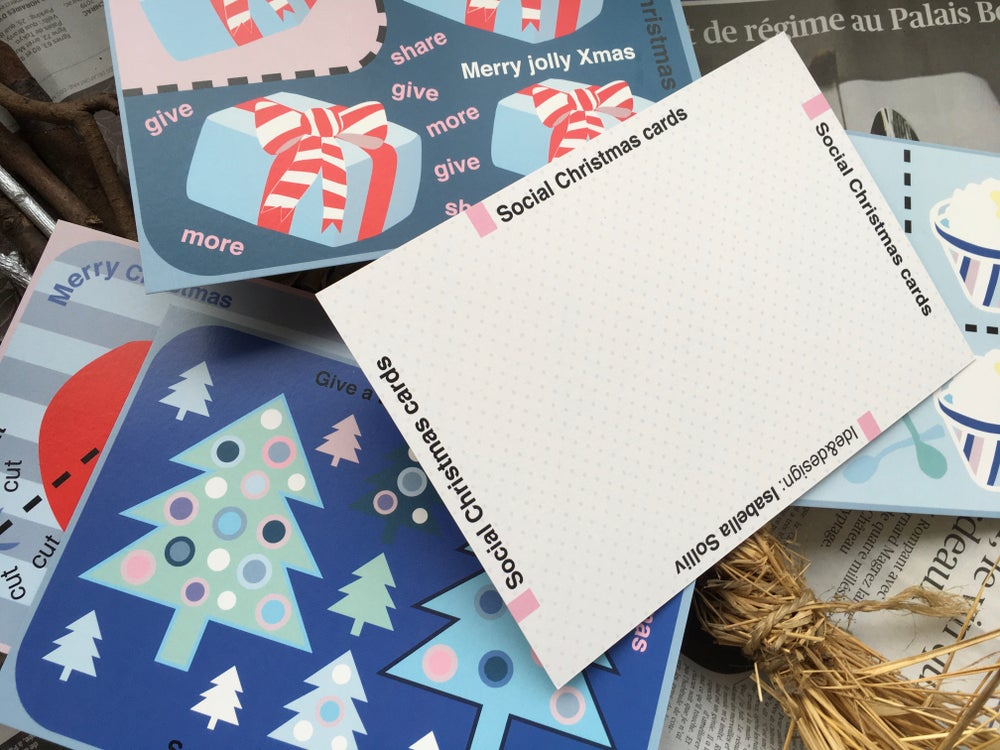 Image of SOCIAL CHRISTMAS CARDS 2019 / A5 size PACKET OF 5 MOTIVES