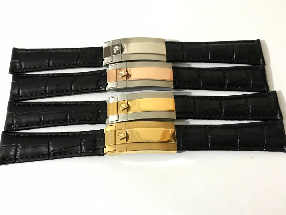 Image of Rolex New 20mm Deployment Black Genuine Leather Watch Strap,4 x color buckles.