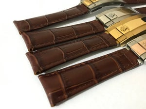 Image of Rolex New 20mm Deployment Brown Genuine Leather Watch Strap,4 x color buckles.