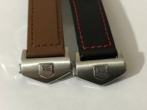 Image of 22MM TAG HEUER Plain leather straps,Black/Brown with tag heuer deployment stainless steel clasp.