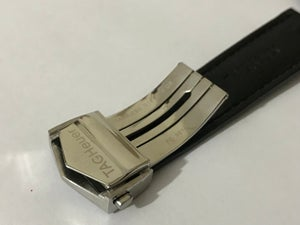 Image of 22MM TAG HEUER CROC leather strap,Black with tag heuer deployment stainless steel clasp.