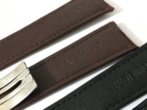 Image of 22MM TAG HEUER CROC leather straps,Black/Brown with tag heuer deployment stainless steel clasp.