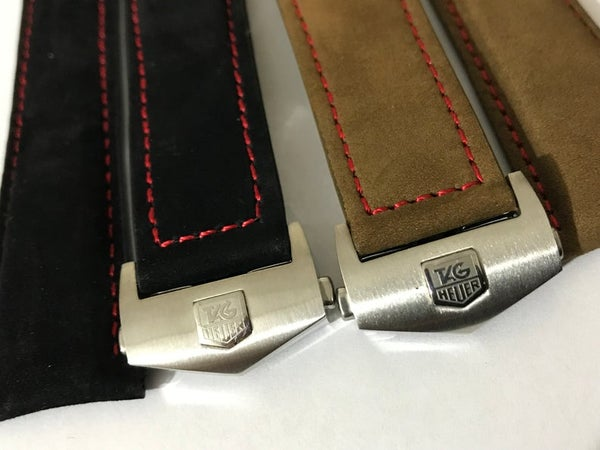 Image of 24MM TAG HEUER VELVET leather straps,Black/Brown with tag heuer deployment stainless steel clasp.