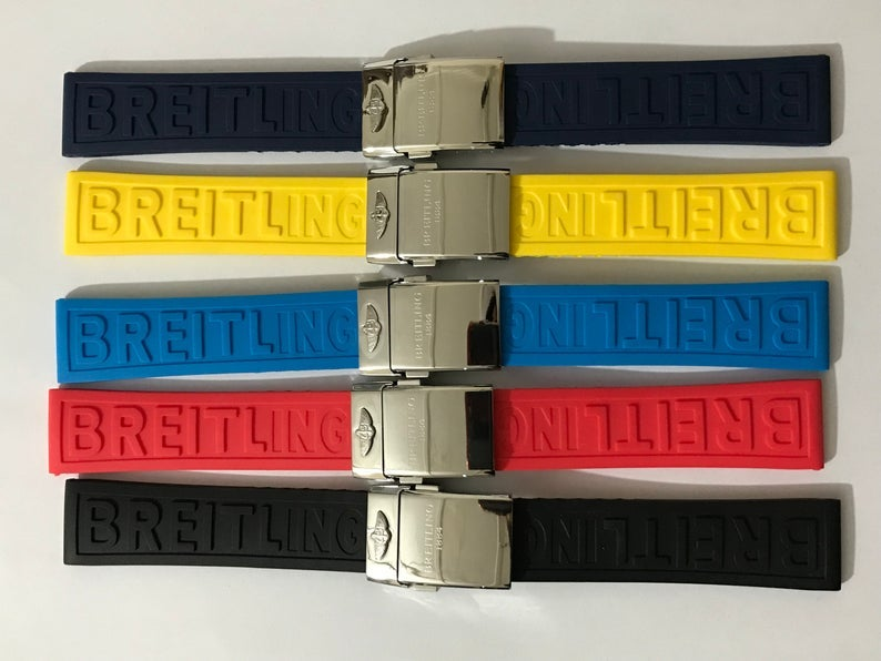 Image of Breitling 22mm/24mm Top Quality Rubber Straps With S/Steel Deployment Clasp