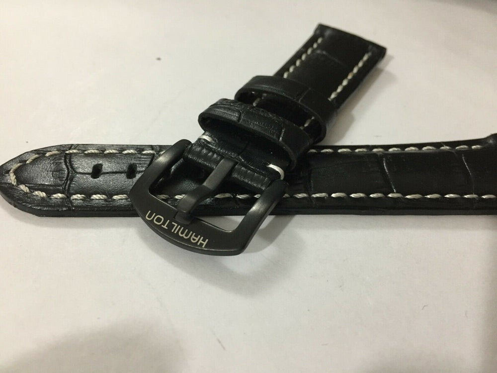 Image of HAMILTON 22MM GENTS LEATHER Strap,black.new