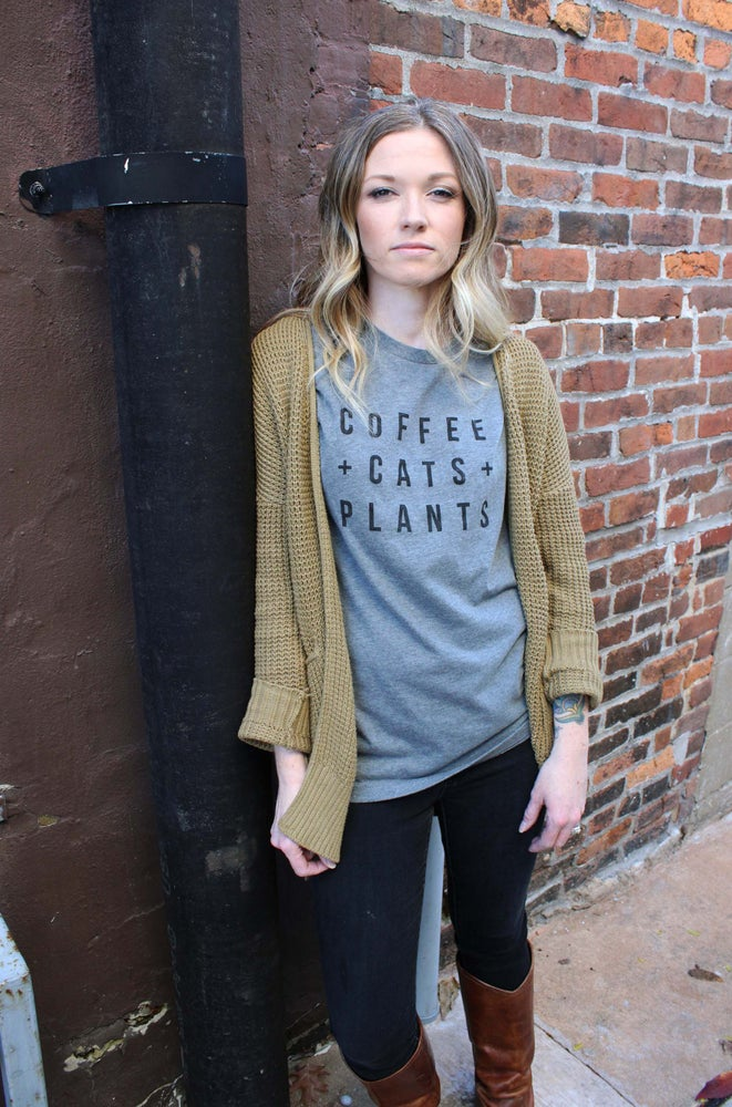 Image of Coffee Cats and Plants T shirt