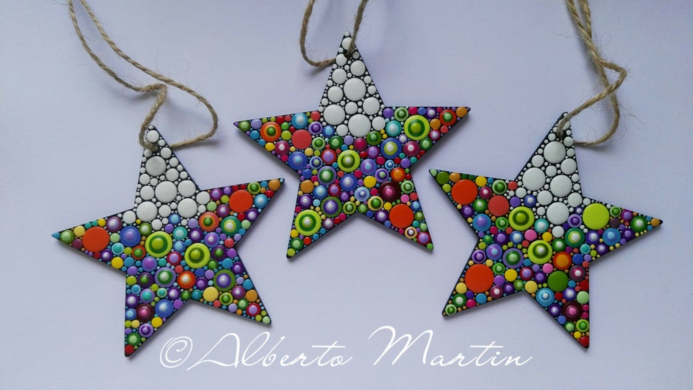 Image of (Number 1). Christmas Stars Tree Ornaments - Dot Art Christmas ornaments. Set of 3.