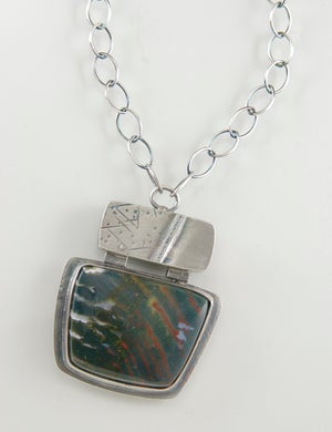 Image of Green Zebra Agate, Hollow Form, Sterling Silver Necklace