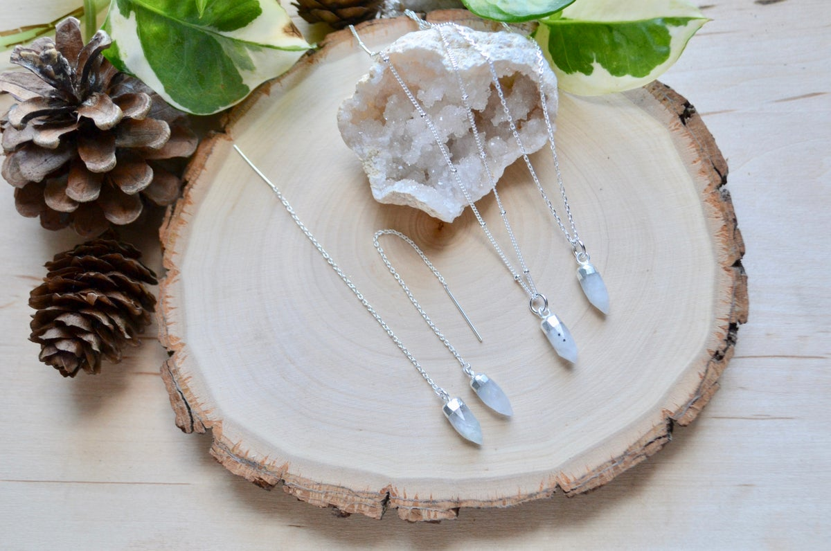 Image of Moonstone point necklace and thread earrings