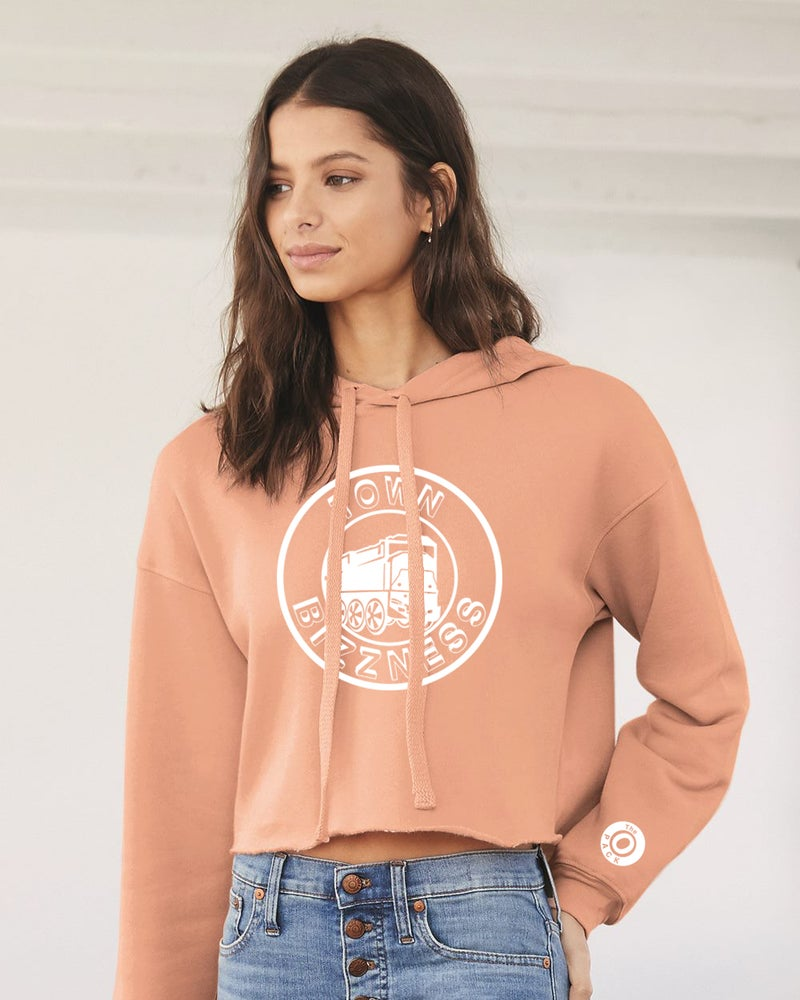 Image of Peach Town Bizzness Women's Cropped Hoodie.