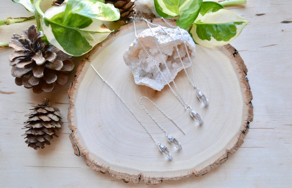Image of Clear quartz necklace and thread earrings