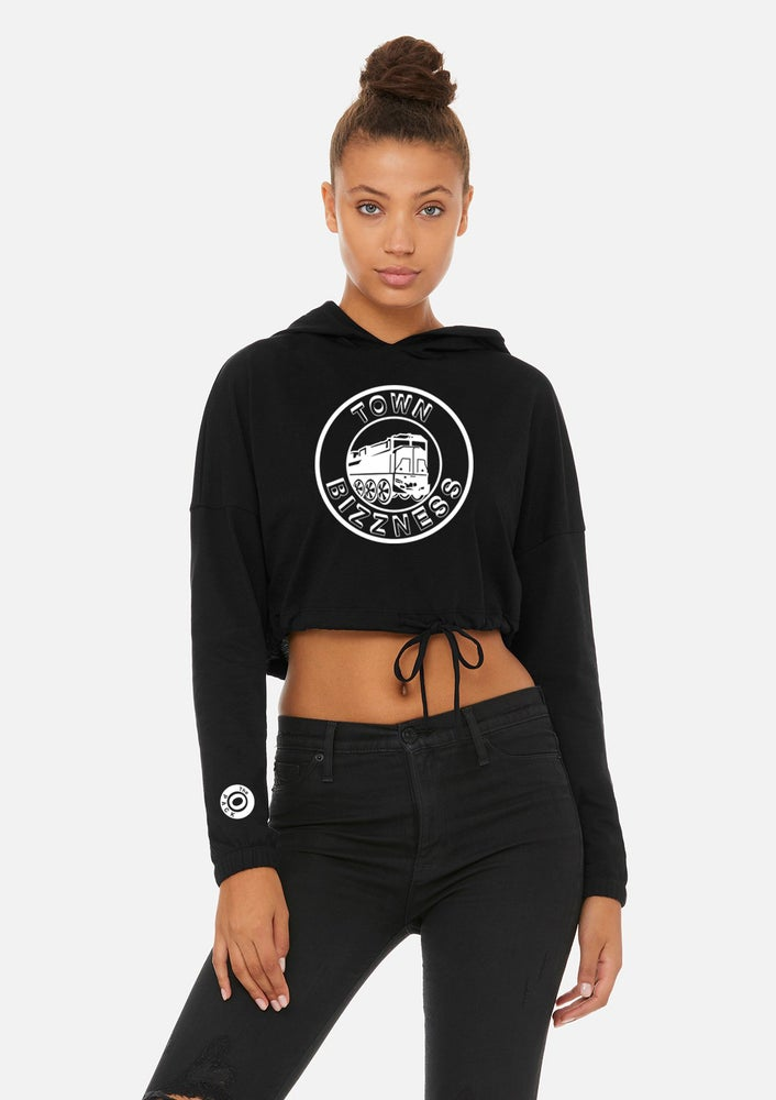 Image of Black Town Bizzness Cropped Women's Hoodie.