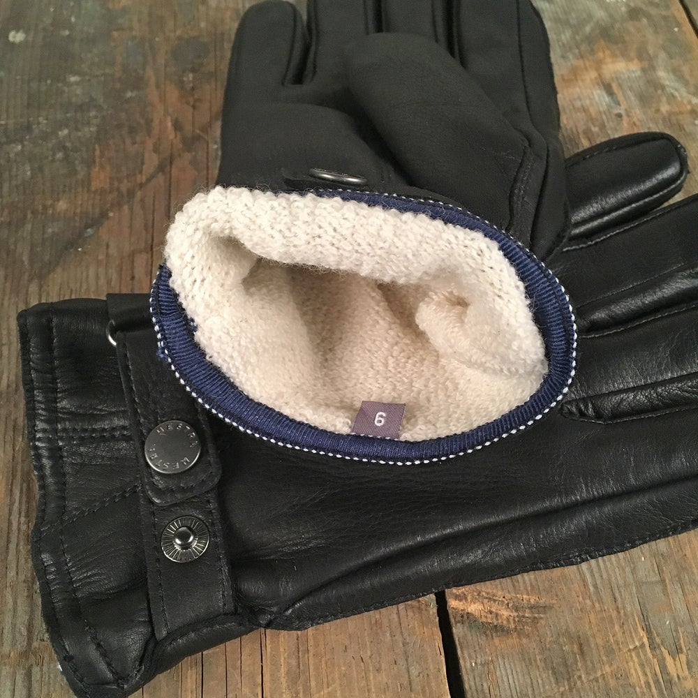 Image of HESTRA DEERSKIN WOOL TERRY GLOVES BLACK