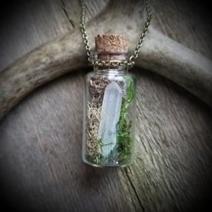 Image of Large Gemstone and Wolf Bone Terrarium Necklace