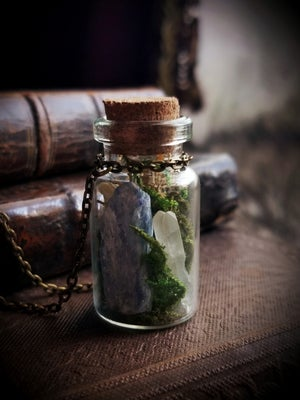 Image of Gemstone and Wolf Bone Terrarium Necklace