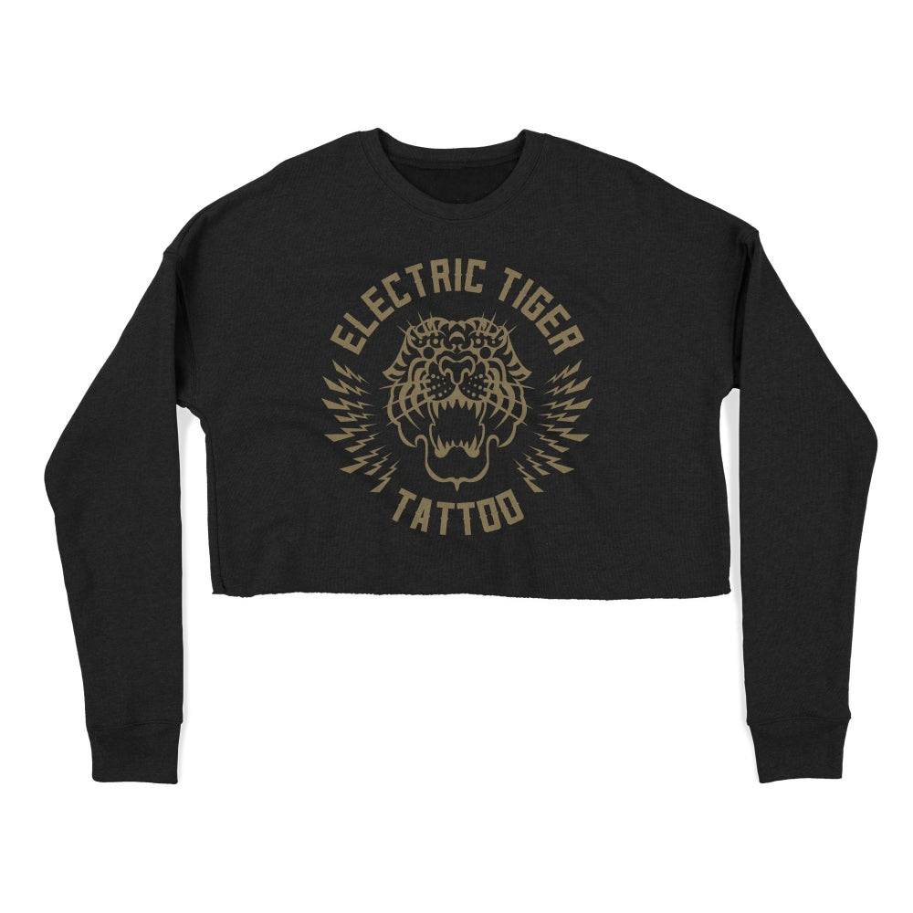 """Image of PREORDER """"ELECTRIC TIGER TATTOO"""" Cropped Crew"""