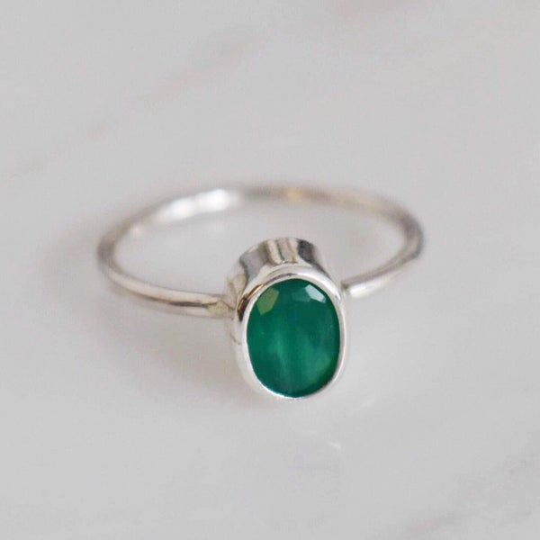 Image of Green Onyx classic silver ring