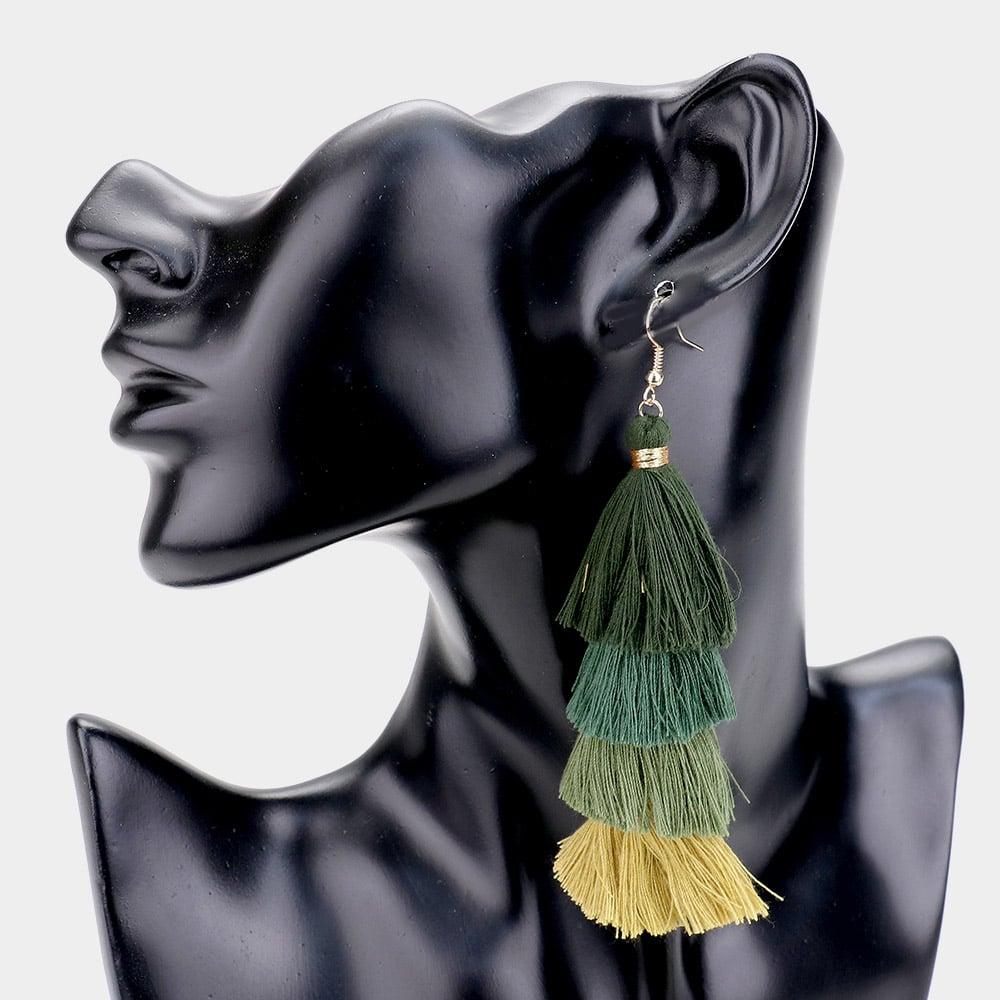 Image of Natalie Tassel Earring-Green
