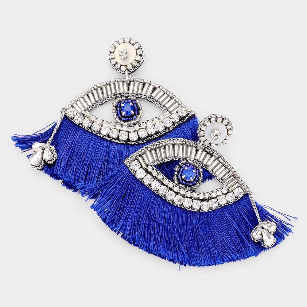 Image of What a Gem Tassel Earring-Blue