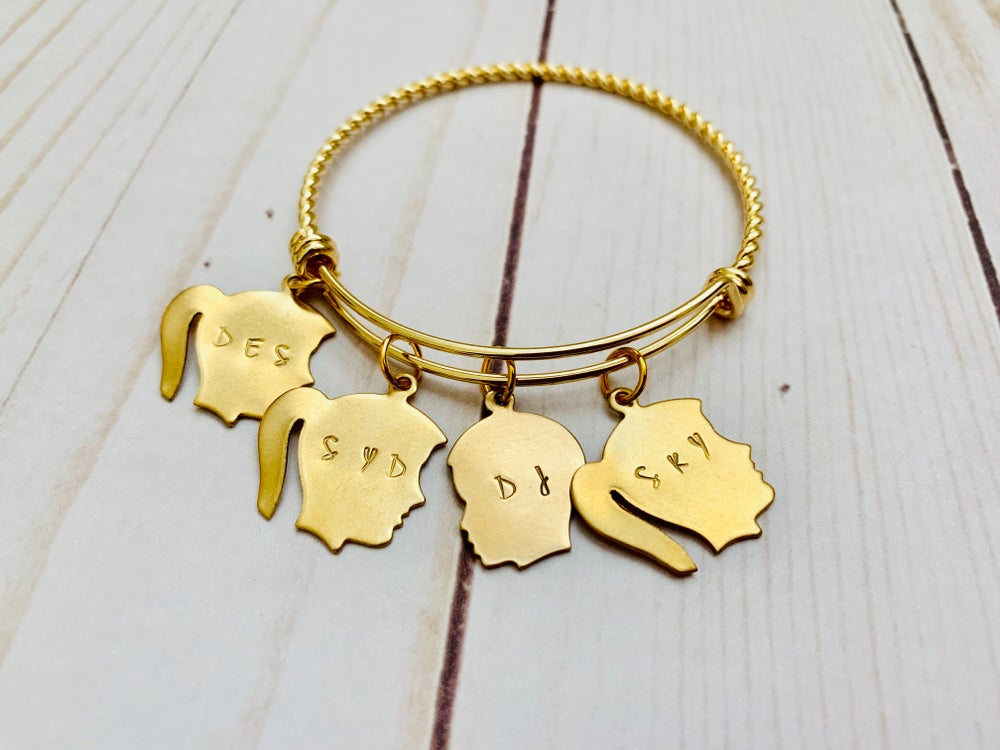 Image of Silhouette Child Charm Bangle