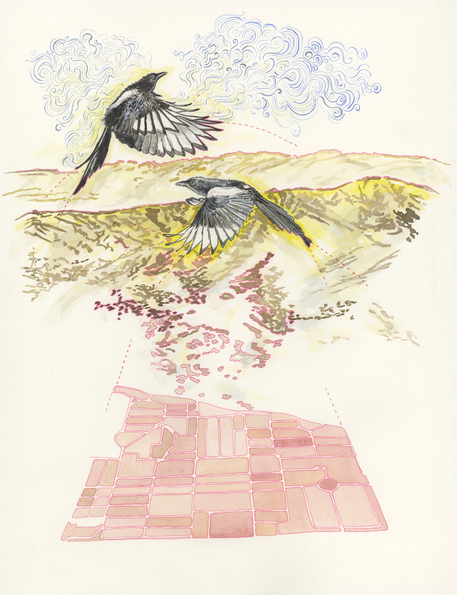 "Image of ""The Magpies' Pink Cemetery Map"" giclee print"