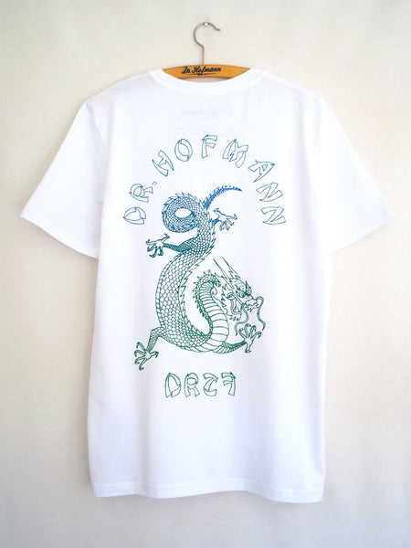 "Image of ""DRAGON"" (backside) - Organic Cotton - White"
