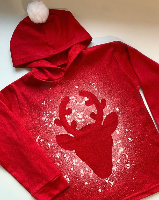 Image of Red Christmas Reindeer Hoodie