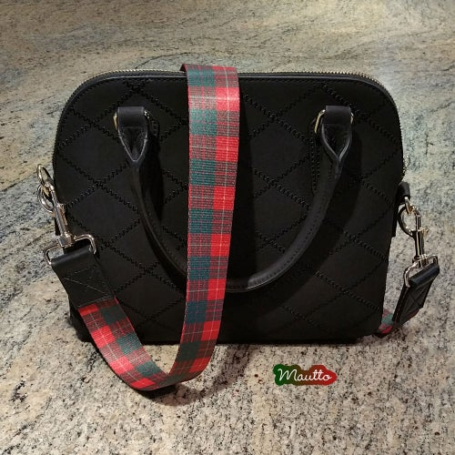 Image of Holiday Strap for Ugly Sweater Parties/Events - Red & Green Plaid Nylon - Black Leather Accents