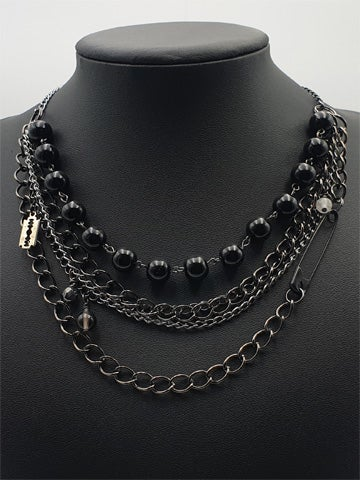 Image of SAFETY PIN Multi Chain Necklace