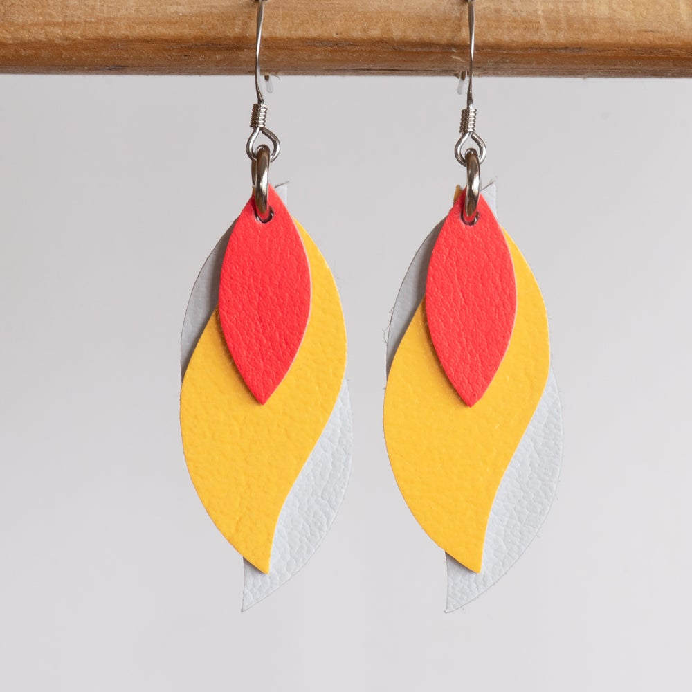 Image of Handmade Kangaroo leather leaf earrings - Coral, yellow, white [LCY-067]