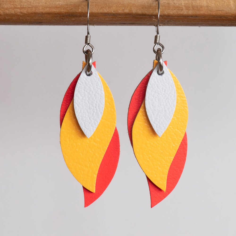 Image of Handmade Kangaroo leather leaf earrings - White, yellow, coral [LCY-065]