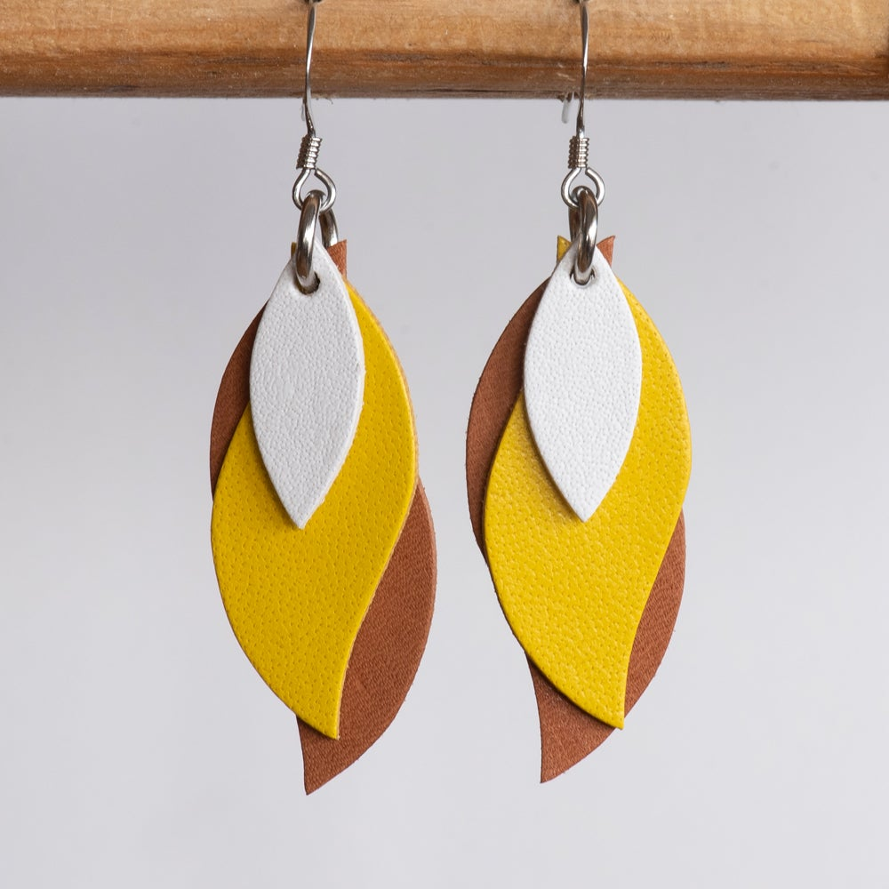 Image of Handmade Kangaroo leather leaf earrings - White, yellow, brown [LYE-175]